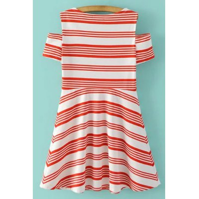 Stylish Scoop Neck Short Sleeve Striped Cold Shoulder Women's Dress