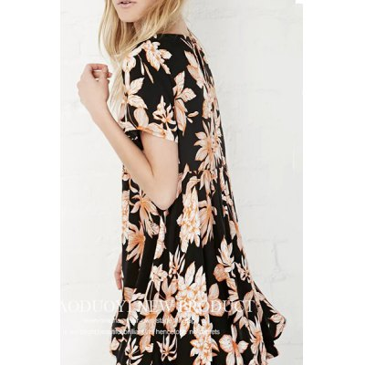 Trendy Round Collar Short Sleeve Flower Print Dress For Women