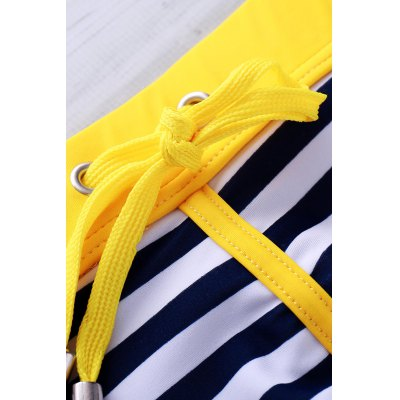 Lace Up Color Block Stripe Sexy Sports Style Men's Swimming Trunks