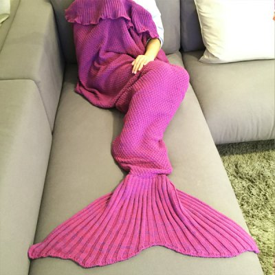 Comfortable Falbala Decor Knitted Mermaid Design Throw Blanket