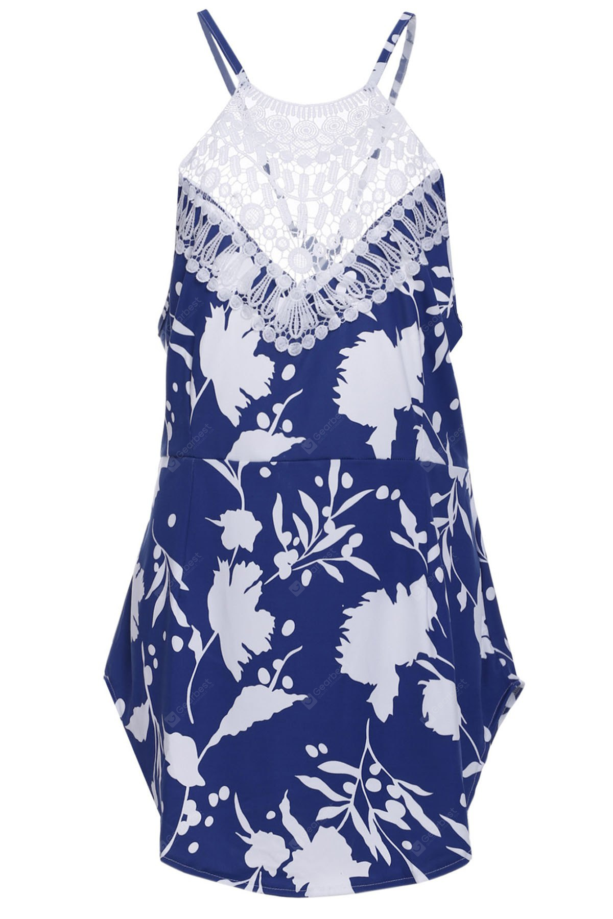 Chic Round Collar Sleeveless Floral Print Backless Women's Dress