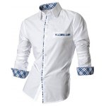 cheap Hot Sale Single Breasted Turn Down Collar Splicing Plaid Shirt For Men
