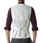 cheap Men's Single Breasted Solid Color Waistcoat With Chain