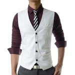 Men's Single Breasted Solid Color Waistcoat With Chain