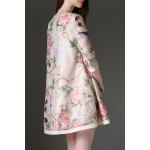 cheap Skew Collar Birds and Floral Print Mini Dress