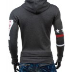 Popular Personality Hooded Star Letters Number Pattern Long Sleeves Hoodie For Men deal