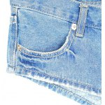 Stylish Low Waist Blue Zippered Denim Shorts For Women for sale