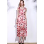 cheap Bohemian Style Printed Sleeveless Porcelain Maxi Dress For Women