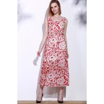 Bohemian Style Printed Sleeveless Porcelain Maxi Dress For Women deal