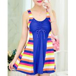 Chic Scoop Neck Colorful Striped Spliced One Piece Women's Swimwear
