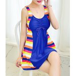 cheap Chic Scoop Neck Colorful Striped Spliced One Piece Women's Swimwear