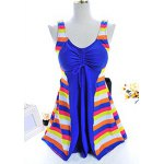 Chic Scoop Neck Colorful Striped Spliced One Piece Women's Swimwear deal