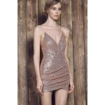 cheap Sexy Spaghetti Strap Asymmetrical Sequined Slimming Women's Dress