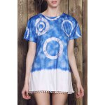 Casual Style Round Neck Short Sleeve Tie Dye Women's Mini Dress