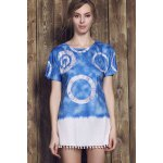 cheap Casual Style Round Neck Short Sleeve Tie Dye Women's Mini Dress