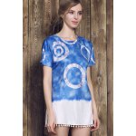 Casual Style Round Neck Short Sleeve Tie Dye Women's Mini Dress deal