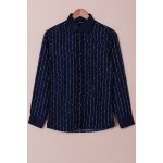 Turn-Down Collar Color Block Waviness Stripe Print Long Sleeve Shirt For Men