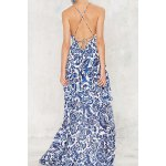 cheap Trendy Plunging Neck Back Lace Up Floral Print Asymmetric Maxi Dress For Women