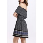 cheap Trendy Off The Shoulder Printed Waisted Mini Dress For Women