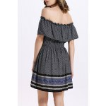 Trendy Off The Shoulder Printed Waisted Mini Dress For Women deal