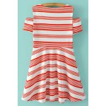cheap Stylish Scoop Neck Short Sleeve Striped Cold Shoulder Women's Dress