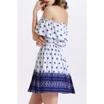 cheap Fashion Off The Shoulder Printed Waisted Mini Dress For Women