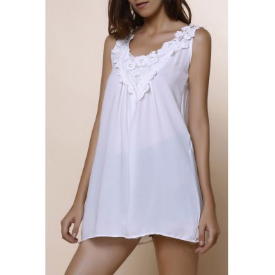Hollow Out Lace Spliced Scoop Neck Tank Top