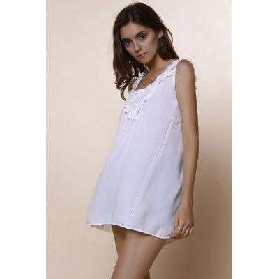 Romantic Lace Spliced Scoop Neck White Tank Top For Women