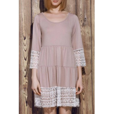 U-Neck 3/4 Sleeve Lace Splicing Loose-Fitting Dress
