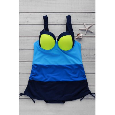 Color Block Push Up One Piece Swimsuit For Women