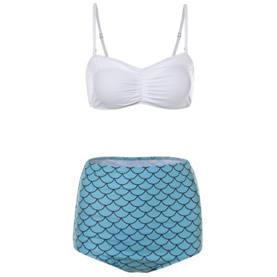 Fish Scales Print High Waisted Bandeau Bikini Set