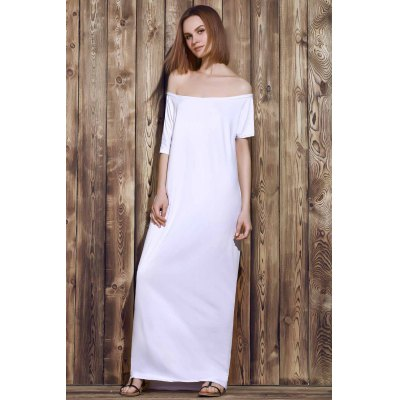 Sexy Off-The-Shoulder Pure Color Asymmetrical Women's Maxi Dress