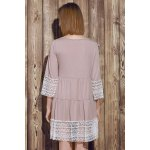 Casual U-Neck 3/4 Sleeve Lace Splicing Loose-Fitting Women's Dress for sale