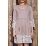 Casual U-Neck 3/4 Sleeve Lace Splicing Loose-Fitting Women's Dress