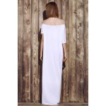 Sexy Off-The-Shoulder Pure Color Asymmetrical Women's Maxi Dress for sale