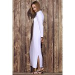 Stylish Plunging Neck Solid Color Long Sleeve Maxi Dress For Women deal