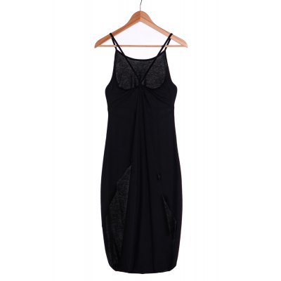 Stylish Spaghetti Strap Solid Color Backless High Low Tank Top For Women