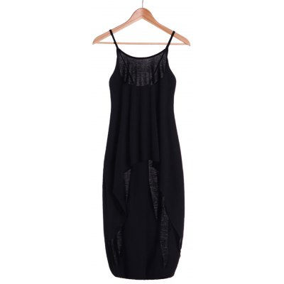 Spaghetti Strap Solid Color Backless High Low Tank Top For Women