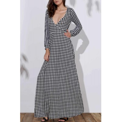 Stylish Long Sleeve Plunging Neck Bird Print Women's Dress