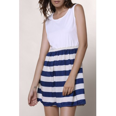 Scoop Neck Sleeveless Spliced Striped Dress