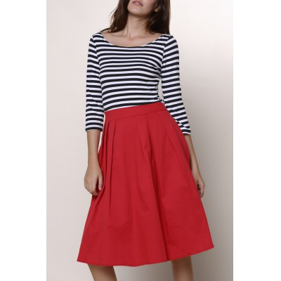 Round Neck 3/4 Sleeve Striped A-Line Dress