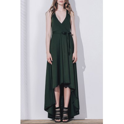 Solid Color Sleeveless Pleated Asymmetric Maxi Dress