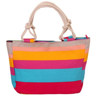 Casual Colorful Stripe and Canvas Design Tote Bag For Women