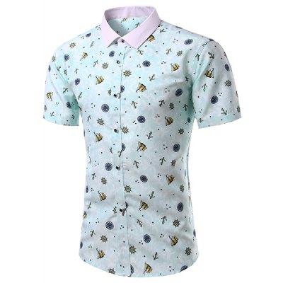 Casual Turn Down Collar Printing Short Sleeves Shirt For Men