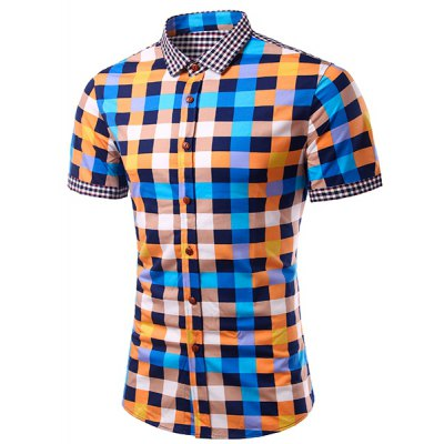 Casual Splicing Checked Turn Down Collar Short Sleeves Shirt For Men