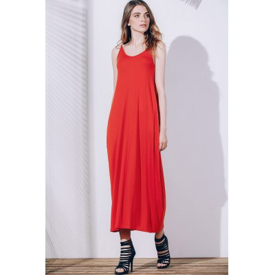 Stylish Spaghetti Strap Solid Color Pocket Design Dress For Women