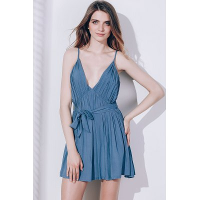 Sexy Spaghetti Strap Sleeveless Solid Color Self Tie Belt Loose Romper For Women
