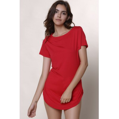 Casual Jewel Neck Short Sleeve Solid Color Slit Dress For Women