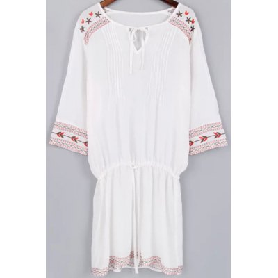 V Neck 3/4 Sleeve Fitting Embroidery Dress and Cami White Tank Top