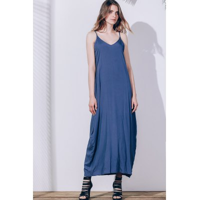 Casual Spaghetti Strap Sleeveless Solid Color Loose-Fitting Dress For Women